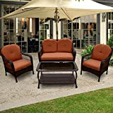 OUTT® Outdoor Patio Furniture Rattan Wicker Garden Furniture Sofa Chair 4 Pieces