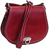 Floto Women's Saddle Bag in Red Italian Calfskin Leather - handbag shoulder bag