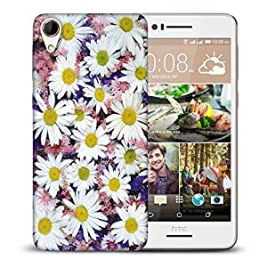 Snoogg White Petal Flower Printed Protective Phone Back Case Cover For HTC Desire 728