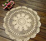 Anokay Handmade 2pc Round Crochet Lace Tablecloths A0602 (Creme, 27-1/2-Inch)