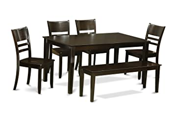 East West Furniture CALY6-CAP-W 6-Piece Dining Table Set with Bench