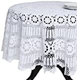 SARO LIFESTYLE 869 Crochet Tablecloths, 54-Inch, Square, White