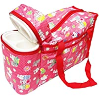 N&M Multi Purpose Baby Diaper Mother Bag With 2 Bottle Holders - Keep Baby Bottles Warm (Red) - Assorted Prints