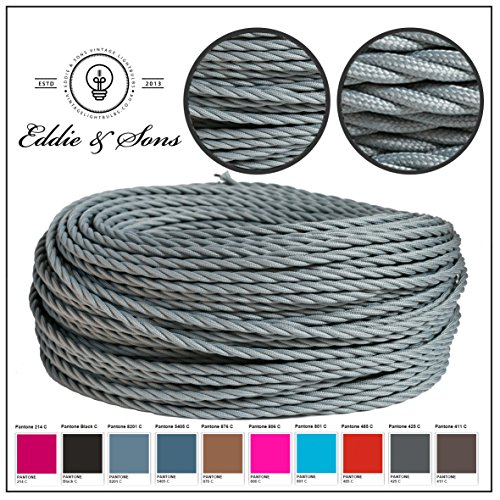 Coloured twisted 3 core fabric light cable in fantastic PANTONE colours - RAIN CLOUD GREY