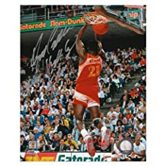 Dominique Wilkins Atlanta Hawks Autographed 8 x 10 Dunk Contest Photograph with Human...