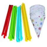 Time for Treats Snow Cone Cups and Spoon Straws 25-Pack by VICTORIO VKP1125 (Color: Multicolor)