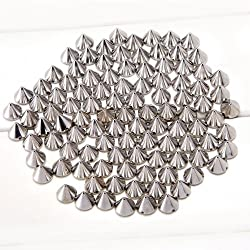 Come 2 Buy - Approx 100PCS 10MM SILVER Acrylic Bullet Spike Cone Studs, Beads, Sew on, Glue on, Stick on, DIY Garments, Bags & Shoes Embellishment by MAKS