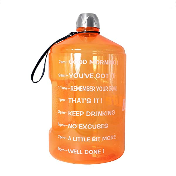 1 Gallon Water Bottle Motivational Fitness Workout with Time Marker sport Gym