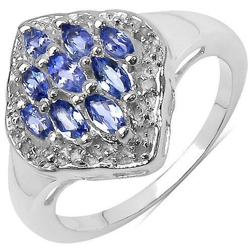The Tanzanite Ring Collection: Ladies 925 Sterling Silver Tanzanite & Diamond Engagement Ring with 0.67 Carats Genuine Tanzanite & 8 Diamonds (Size O). Comes in a Quality Ring Case for that Special Gift.