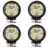 Masione 27w Led Work Light Flood Beam Offroad Lamp Truck 12v 24v 4wd boat camping (4 Pack, 27W Round, Flood Light)