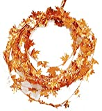 Fall Harvest Wire Leaf Garland 25ft Long (Orange Gold)