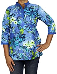 Indian Kurti Womens Comfortable Airy Clothes For Summer Cotton Printed Top