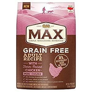 NUTRO MAX Adult Grain Free Recipe With Farm Raised Chicken Mini Chunk Dry Dog Food 25 Pounds