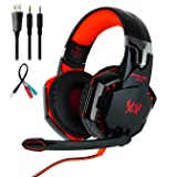 Mengshen Stereo Gaming Headset - with Mic, Volume Control and Cool LED Lights - Compatible with PC, Laptop, Smartphone, PS4 and Xbox One Controller, G2000 (Red) (Color: Red)