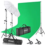 Neewer Photography Backdrop 400W 5500K Continuous Umbrella Studio Lighting Kit 6x9 feet Muslin Chromakey Green Screen and 2.6x3 Meters/8.5x10 Feet Backdrop Stand Support System for Photo Video Shoot (Color: Green)