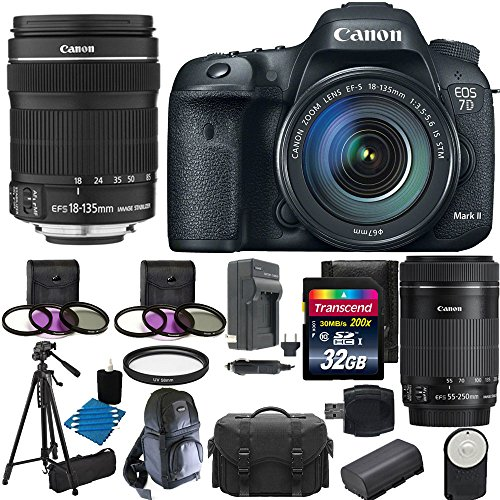 Canon EOS 7D Mark II Digital SLR Camera USA warranty with 18-135mm IS STM Lens with Canon EF-S 55-250mm f/4.0-5.6 IS II Telephoto Zoom Lens + Extra Battery + Extra Charger + 58mm 3 Piece Filter Kit with 32GB Complete Deluxe Accessory Bundle