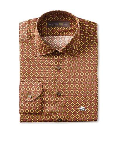 Etro Men's Spread Collar Eastern Pattern Long Sleeve Shirt