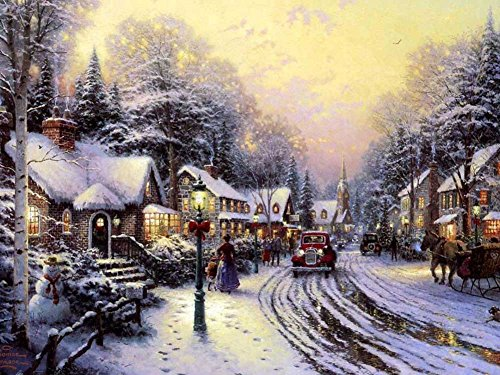 Village Christmas - Thomas Kinkade - Art Print on Canvas (32x24 inches, unframed)