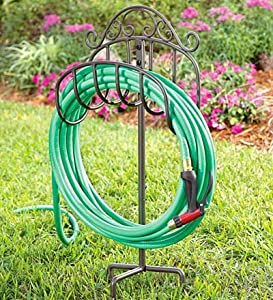 hose holder with stake in gunmetal garden hose reels patio lawn