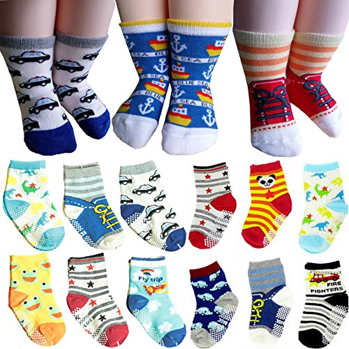 BSLINO 6 Pairs 12-36 months Unisex Baby Boy Toddler Non-Skid Slip Cozy Soft Crew Boat Socks + Gift bag + Gift Card, Stripes No-Show Crew Boat Socks Footsocks sneakers (Fire Truck Walker compare prices)