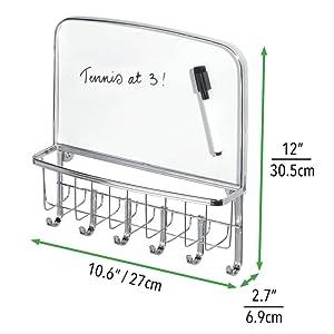 mDesign Metal Entryway Storage Organizer Mail Basket//Dry Erase Board
