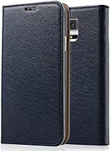 [Genuine Leather] [Samsung Galaxy S5 Wallet Case]- iXCC ® [Stand Feature] [Classic Vintage Elegant Look] Premium Ultra Slim with Stand Flip Cover , Protective Soft Geniune Leather [Book Style] Folio Wallet Case - for Samsung Galaxy S5 Late 2014 Model [Navy]