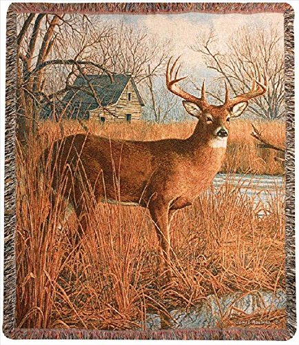 """""""His Side Of The River"""" Deer Print Tapestry Throw Blanket 50"""" X 60"""" front-984605"""
