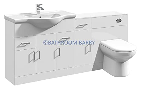 1700mm Modular High Gloss White Bathroom Combination Vanity Basin Sink Cabinet, Cupboard Unit, WC Toilet Furniture & BTW Pan