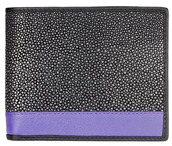 Polished Stingray Leather Billfold Wallet, Card Slots, Black / Purple Stripe