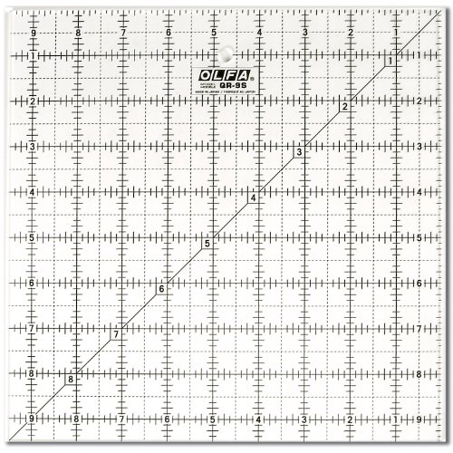 OLFA 1071799 QR-9S 9-1/2-Inch Square Frosted Advantage Acrylic Ruler