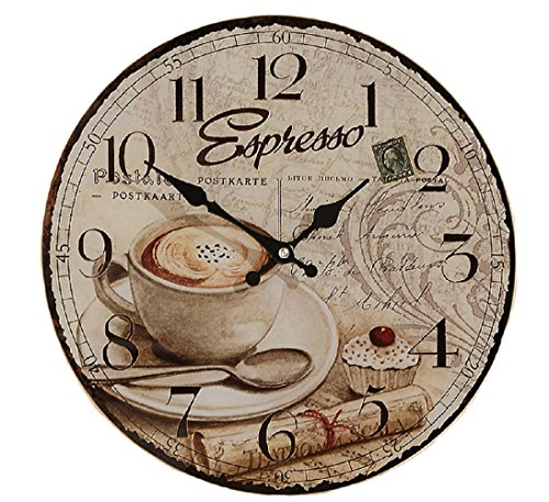 The Parisian Coffee Wall Clock for Coffee Lovers, Glass, Quartz Movement, Antique Café Style, By Whole House Worlds (Coffee Kitchen Clock compare prices)