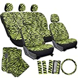 OxGord 17pc Zebra Seat Cover Carpet Floor Mat Set for Car/Truck/Van/SUV, Lime