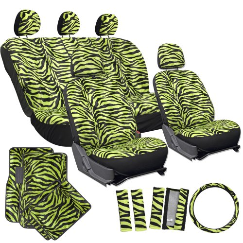 OxGord 21pc Set of Zebra Print Car Seat Covers w/Deluxe Velour Animal Carpet Floor Mats, Steering Wheel Cover & Shoulder Pads - Airbag Compatible - Front Low Back Buckets - 50/50 or 60/40 Rear Split Bench - Universal Fit for Cars, Truck, SUV, or Van, Lime Green (Black Zebra Print Seat Covers compare prices)