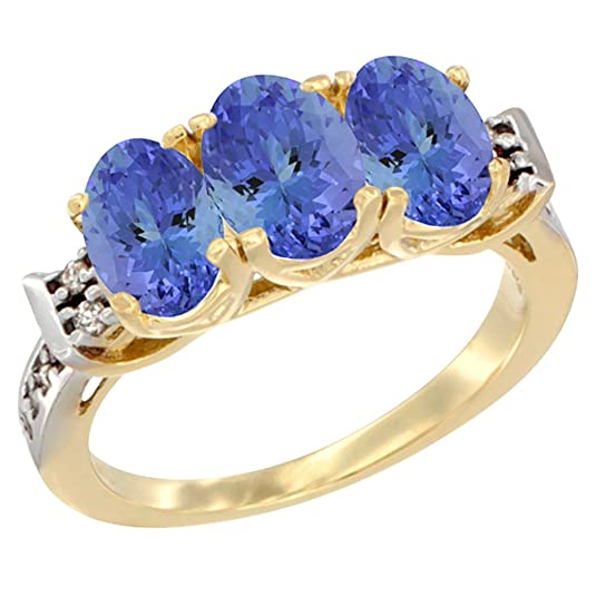 14ct Yellow Gold Natural Tanzanite Ring 3-Stone 7x5 mm Oval Diamond Accent, sizes J - T