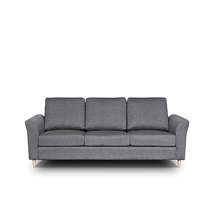 Sofa Werona III Couch Sofagarnituren Polstersofa Couchgarnitur, Komfortsofa, Wohnzimmer, Stoffsofa, Microfaser, grau (Hugo 96)