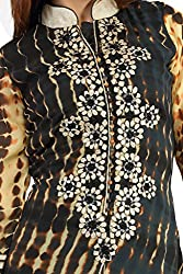 Feather Touch Women's Georgette Kurti (FT3641BL2_Black_40)