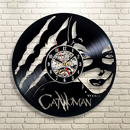 Catwoman art vinyl record clock wall decor home design for Vinyl record wall art