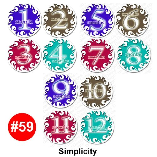 SIMPLICITY Baby Month Onesie Stickers Baby Shower Gift Photo Shower Stickers, baby shower gift by OnesieStickers