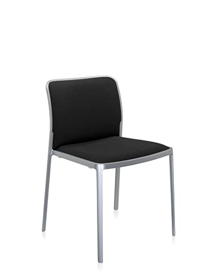 Kartell 05975AB Audrey Soft Sessel, Plastik, aluminium bemalt / trevira schwarz, 51 x 80 x 52 cm