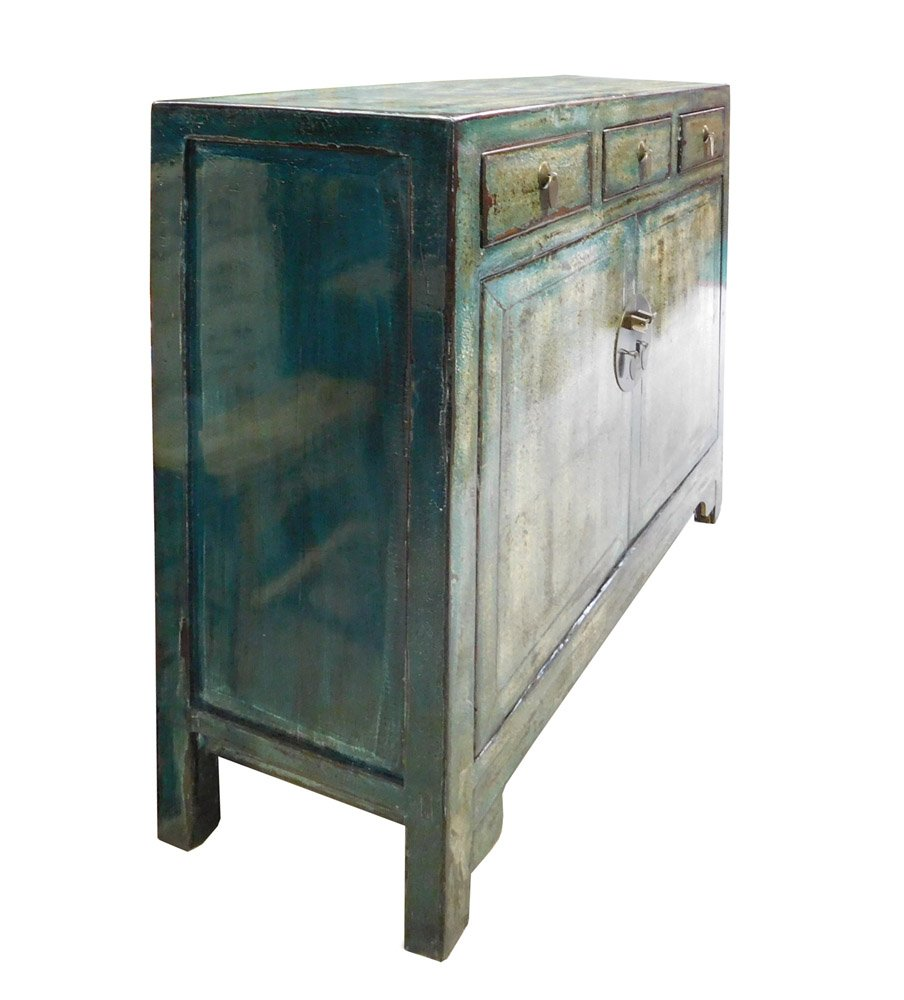Chinese Distressed Blue Side Tall Credenza Table Cabinet Acs1695 2