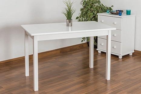 Massivholz Tisch 70x120 cm Kiefer, Farbe: Weiß