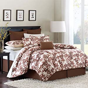 Avenue 8 Autumn Leaf 8 Piece Comforter Set - Tan - Queen
