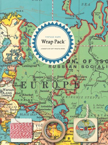 Cavallini Papers 4-Sheet Wrap Pack, Vintage Maps (Vintage Map Paper compare prices)