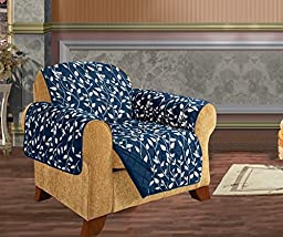 Elegant Comfort Quilted Leaf Design REVERSIBLE FURNITURE PROTECTOR for Pet Dog Children Kids with TIES TO PREVENT SLIPPING OFF Navy Blue Chair