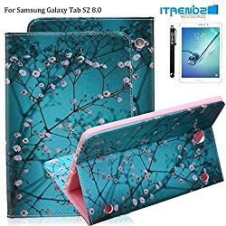 Galaxy Tab S2 8.0 Case, Itrendz Cherry Blossom PU Leather Flip Case [Card Slot Case] [Magnetic Closure] Stand Smart Cover For Samsung Galaxy Tab S2 8.0 (8IN Wi-Fi SM-T710 / LTE SM-T715)