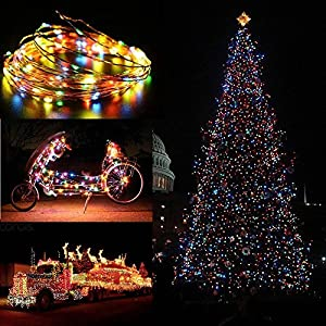 [100 LED 8 Modes] Solar Starry String Lights, ieGeek Solar Fairy Lights Ambiance Lighting 100 LED 39FT for Garden, Home, Dancing, Party, Wedding, Christmas, Bedroom Window, Indoor & Outdoor - Colorful 39FT from ieGeek