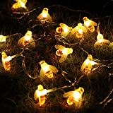 ErChen Honeybee Fairy String Lights,ER CHEN(TM) 10Ft 20 LED Honeybee Battery Power Led String Lights for Party,Wedding,Xmas,Decoration,Gardens,Patios,etc. (Color: Battery powered, Tamaño: Pineapple)