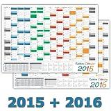 Rainbow Wandkalender / Wandplaner 2015 + 2016 - DIN A2 Format (594 x 420 mm) mit 14 Monaten, komplette Jahresvorschau des Folgejahres und Ferientermine/Feiertage aller Bundesländer