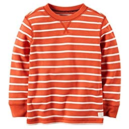 Carter\'s Little Boys\' Striped Thermal Shirt (4, Orange)