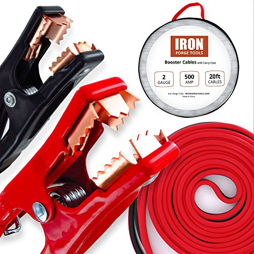 20 Foot Jumper Cables with Carry Bag - 2 Gauge, 500 AMP Booster Cable Kit (1 Ga Booster Cables compare prices)